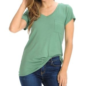 Green V-Neck Top With Pocket